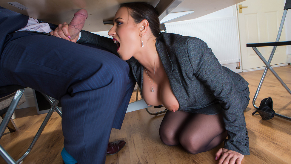 hot handjob under the table