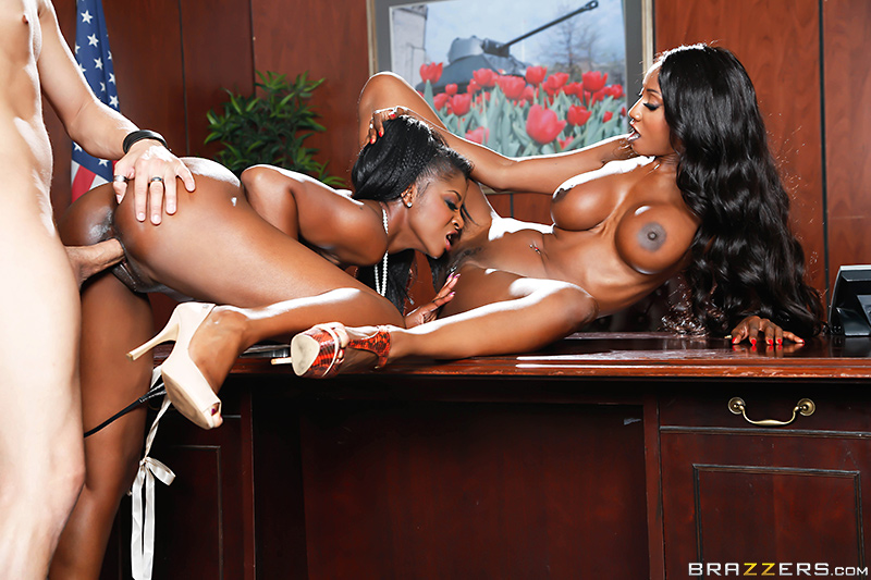 Sexy threesome in the office brazzers